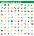 100 childhood icons set cartoon style vector image