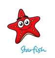 Cartoon red star fish with happy face vector image