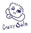 Crazy Sale with Funny Human Head vector image