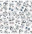 Comics googly eyes seamless pattern background vector