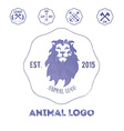 Polygonal hipster logo with head of lion in violet vector image