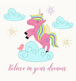 card with unicorn on the cloud vector image