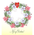 Christmas Wreath with Poinsettia Flowers vector image