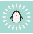 Penguin Cute cartoon character Fish round frame vector image