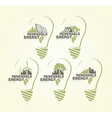 renewable energy set of earth in bulb concept vector image
