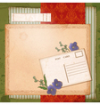 Scrapbook old paper background with dried flower vector image