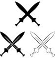 set of crossed swords vector image vector image