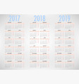 calendar for 2017 2018 2019 on white background vector image