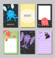 colorful retro funny cards set with cute monsters vector image