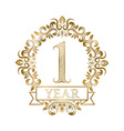 One year anniversary celebration golden vintage vector image