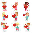 set of cute kids characters with paper red hearts vector image
