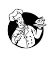 Chef Cooking Fried Chicken Black White vector image