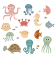 Cute sea creatures vector image