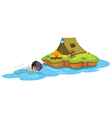 A kid swimming near a campsite vector image vector image