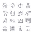 real estate set of outline icons includes vector image