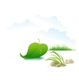 Tree leaf floating on the river vector image