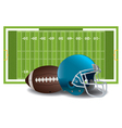 American Football Field Helmet and Ball vector image vector image