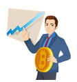 businessman and graph with trend line rising up vector image