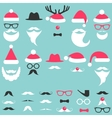 Santa hats mustache and beard set vector image vector image