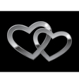 two metal hearts vector image