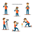 Photographer with Camera in Action Set vector image