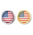 Usa flag button with silver and gold vector image vector image