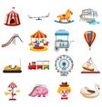 Amusement park icons set flat style vector image