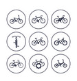 bicycles cycling bikes icons set vector image