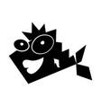 black icon funny fish cartoon vector image