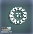 Gambling chips icon On the blue-green abstract vector image
