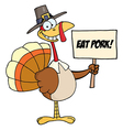 Pilgrim Turkey Holding A Blank Sign vector image
