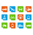 transport icons on stickers vector image