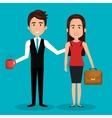 cartoon woman and man work employee design vector image