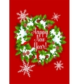 Pine fir wreath Happy New Year greeting card vector image