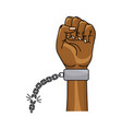 nice hands fist up with metallic chain vector image