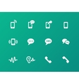 Phone icons on green background vector image