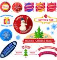 Set of flat Christmas vintage labels vector image vector image