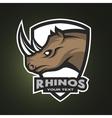 Rhino sports logo emblem vector image