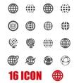 grey globe icon set vector image vector image