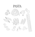 Italian Pasta Assortment Isolated Hand Drawn vector image