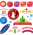 Set of flat Christmas vintage labels vector image