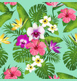 tropical flowers and leaves vector image