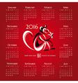 Year of the monkey 2016 calendar vector image