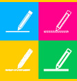 pencil sign  four styles of icon on vector image