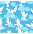 seamless pattern with white doves beautiful vector image vector image