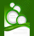 Green background with circles vector image vector image
