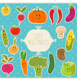 Frame cute vegetables healthy food vector image
