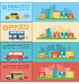 Flat city cars infographic banners traffic vector image
