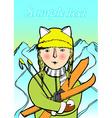 girl skiing vector image