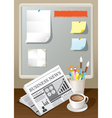 Newspaper Coffee Cup and Stationery vector image